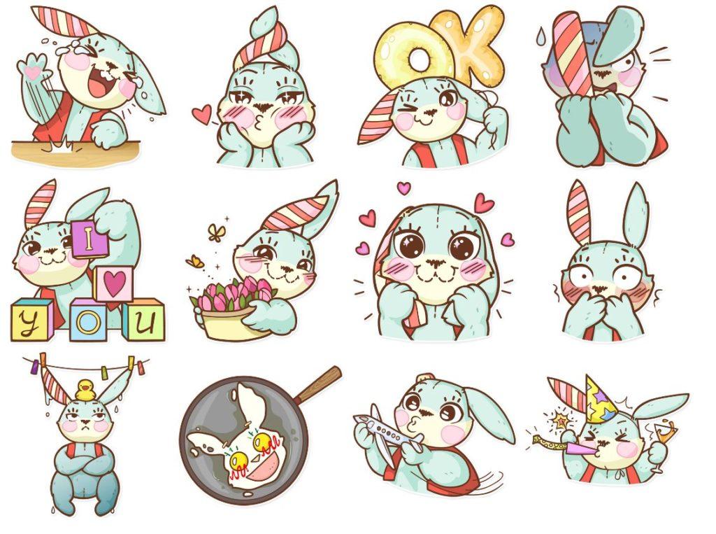 Стикеры «Плюшевый заяц» для Telegram